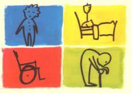 Disegno con bambino, carrozzina, persona appoggiata a bastone e persona a letto