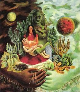 Frida Kahlo, L�abbraccio amorevole dell�universo, la terra, Diego, io e il signor Xolotl, 1949