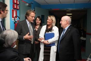 Il presidente di Telethon Luca di Montezemolo in visita al Centro Clinico NEMO