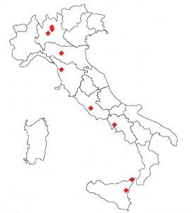Distribuzione territoriale dei membri della Commissione Medico-Scientifica UILDM (triennio 2010-2013).