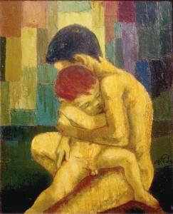 Dina Pala, Paternità, olio su tela, 1965.