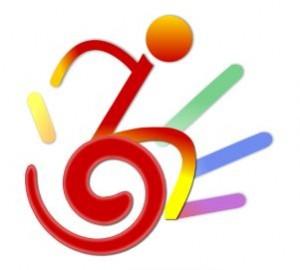 Il logo del Gruppo Jump LGBT, una sedia a rotelle stilizzata con i colori dell'arcobaleno.
