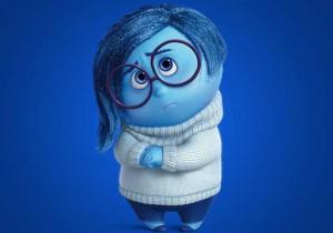 """Il personaggio che interpreta l'emozione della Tristezza in """"Inside out"""", il film di animazione della Disney Pixar."""