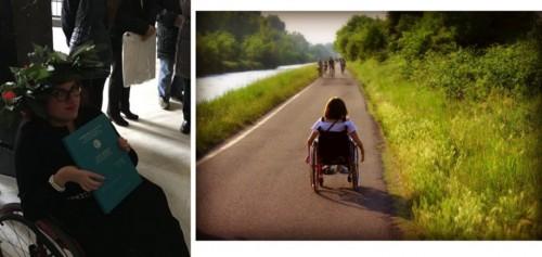 Le due fotografie inviate da Silvia per partecipare all'iniziativa promossa da Saverio Tommasi. La prima la ritrae con la corona d'alloro nel giorno della sua laurea; la seconda, ritratta di spalle, in una passeggiata sui Navigli.