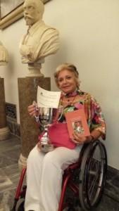 """Paola Giusti il 25 marzo scorso, a Roma, in Campidoglio, alla Cerimonia di Premiazione del Concorso """"AlberoAndronico""""."""
