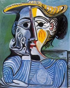 Pablo Picasso, Donna con cappello giallo (Jacqueline), 1961.
