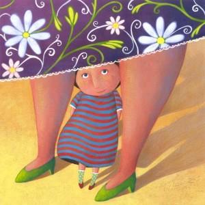 Disegno di una bambina sovrastata dalle gambe e dalla gonna della madre. lmmagine di Carlotta Montagna, vincitrice di un premio che fa parte di un concorso d'illustrazione contemporanea dell'Associazione Culturale Tapirulan.